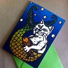 Merkitty Card by PufferfishPress on Etsy, $4.00