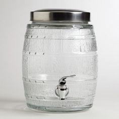 Wine Barrel Glass Jar with spigot