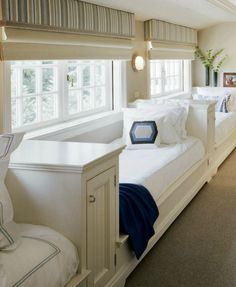 Guest bed built-ins - these are great - what fun! This would be great in a finished bonus room for extra guest.  The little cabinets could hold extra linens.