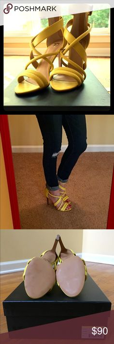 """Yellow Joe's Jeans Robbie Sandal Fun bright yellow heels! Basically brand new. They are very comfortable, approx 4"""" heel, I only wore around the house while trying on. There is a mark on one shoe as seen in pic, they came from Nordstrom like this. Joe's Jeans Shoes Heels"""