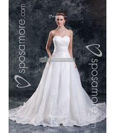 IULIA - A-line Sweetheart Chapel train Organza Wedding dress - Sposamore