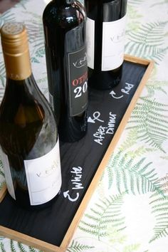 DIY chalkboard wine tray. Could also make larger serving tray if you add handles.