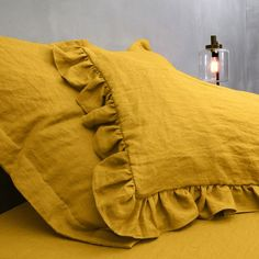 Give your room a feminine touch with our Ruffled Pillowcases.Available in 15 shades.Purchase yours today. Home Hacks, Pillowcases, Linen Fabric, Bean Bag Chair, Feminine, Shades, Touch, Pure Products, Room