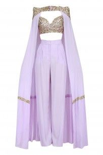 Lavender cape pant set available only at Pernias Pop Up Shop. Kpop Fashion Outfits, Stage Outfits, Chic Outfits, Fashion Quiz, 70s Fashion, Winter Fashion, Indian Fashion Dresses, Indian Designer Outfits, Designer Dresses