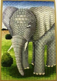 Junko Kuwabara of RSN Japans Canvaswork (needlepoint) elephant.