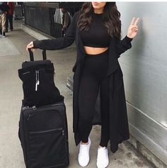 Image about black in Fashion. by Valerya on We Heart It Chill Outfits Black fashion Heart image Valerya Chill Outfits, Mode Outfits, Cute Casual Outfits, Stylish Outfits, Traveling Outfits, Swag Outfits, Winter Fashion Outfits, Look Fashion, Curvy Fall Fashion