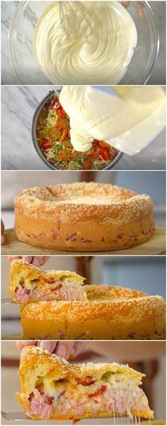 Torta de Pão de Queijo Recheada   Faço sempre na minha casa e todo mundo ama! (veja a receita passo a passo) #torta #pãodequeijo #tortadepãodequeijo #tastemade