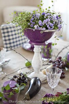Spring centerpiece made out of a collander!