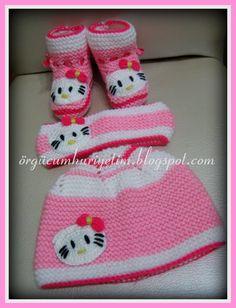 Kedili Bebek Şapka ve Patiği