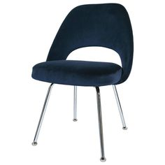 Saarinen Executive Armless Chair in Navy Velvet   From a unique collection of antique and modern dining room chairs at https://www.1stdibs.com/furniture/seating/dining-room-chairs/