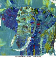 stock photo : An elephant painted with acrylics on canvas. I painted it