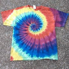 Youth Medium Autumn Rainbow Spiral Tie Dye T-shirt / Kids Tyedye Tee – Pieceful Worlds Clothing Dye T Shirt, Kids Tie Dye Shirt, Tie Die Shirts, Tie Dye Rainbow, Tie Dye Crafts, Spiral Tie Dye, Tie Dye Techniques, How To Tie Dye, Tie Dye Designs