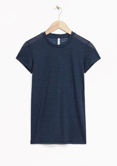 & Other Stories image 1 of Sheer Wool T-Shirt in Navy