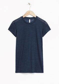 & Other Stories | Sheer Wool T-Shirt | Dark blue