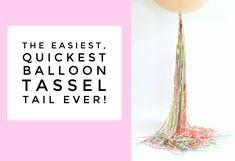 Easiest Quickest Balloon Tassel Tail Ever! Bubble Balloons, Big Balloons, Latex Balloons, Bubbles, Paper Balloon, Balloon Tassel, 30th Birthday Parties, Birthday Ideas, Ideas Party