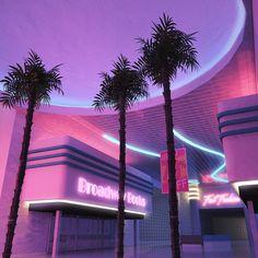 Broadway Decks Motel Hall wait room palms inside the building pink colors neon lights retro wave New Retro Wave, Retro Waves, Purple Aesthetic, Retro Aesthetic, Aesthetic Light, Photo Wall Collage, Picture Wall, Aesthetic Backgrounds, Aesthetic Wallpapers