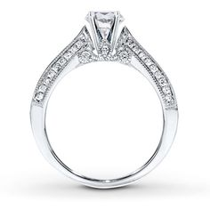 Diamond Ring Setting 1 ct tw Princess/Round 14K White Gold