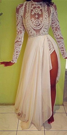 Long Sleeves Split Side Prom Party Dresses 2016