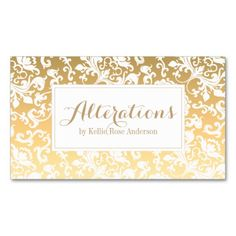 Gold Damask Business Cards