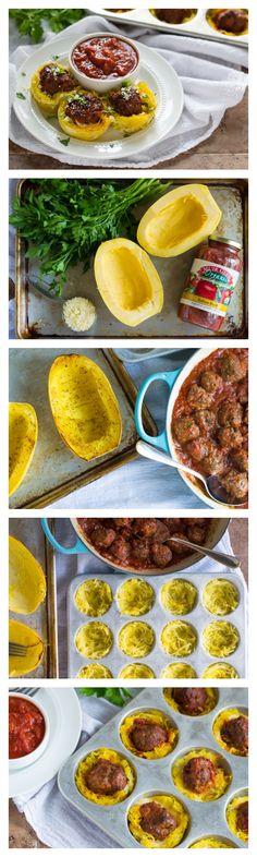 Spaghetti Squash And Meatball Cupcakes