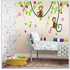 Perfect MLM X Large Green Tree Vine Monkey Flower Home Decor Removable Wall Sticker Decals