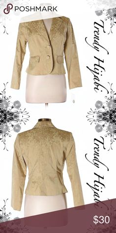 Apt. 9 Jacquard Gold Blazer Size 10 (Petite) Gold Printed Measurements Detailed measurements are not available for this item. Materials 60% Cotton, 37% Polyester, 3% Spandex Apt. 9 Jackets & Coats Blazers