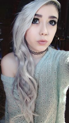 (❛‿❛✿̶̥̥) I love the platinum white hair and nose ring and makeup too