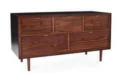 gorgeous dresser - blackened steel and walnut! love!