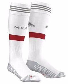 New Adidas AC Milan Away Junior Football Socks - White size UK 12-1 Boys Kids