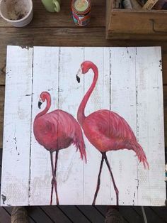 Flamingo Craft, Flamingo Pool, Flamingo Painting, Flamingo Decor, Flamingo Pattern, Pink Flamingos, Fence Painting, Pallet Painting, Pallet Art
