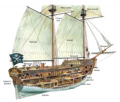 A brigantine was a medium-sized vessel with two masts. Brigantines were favoured by pirates because they were fast and easy to control. They could sail in. Bateau Pirate, Old Sailing Ships, Wooden Ship, Pirate Life, Deck Plans, Tall Ships, Boat Building, Model Ships, Sailboat