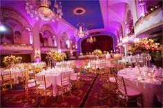 Lighting designed by 617 Weddings.   Photo by Roland Silva of 617 Weddings.  Boston Park Plaza.