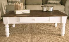 Farmhouse Style Coffee Table Distressed White Paint Dark Stain On - White coffee table with dark wood top