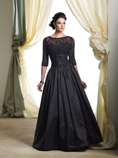 My mother of the bride dress when Ava gets married someday 😭 Beautiful Black Evening Gown with lace accent & length sleeves ◆ Silhouette: A-Line ◆ Neckline: Bateau ◆ Gown Length: Long ◆ Waistline: Empire Mob Dresses, Formal Dresses, Bride Dresses, Dresses 2013, Prom Gowns, Gowns 2017, Wedding Dresses, Elegant Dresses, Pretty Dresses
