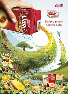 ad trope - nature, wickedly gushing out of or into a small beverage bottle Creative Poster Design, Ads Creative, Creative Posters, Graphic Design Posters, Graphic Design Inspiration, Poster Designs, Food Advertising, Creative Advertising, Advertising Poster