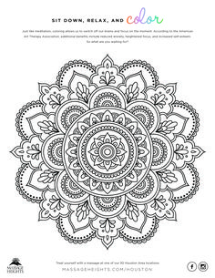 Massage Heights® offers regular massage & skin therapy designed to fit your needs. Mandala Art Lesson, Mandala Doodle, Mandala Stencils, Mandala Dots, Mandala Drawing, Mandala Painting, Mandala Pattern, Free Adult Coloring Pages, Cute Coloring Pages