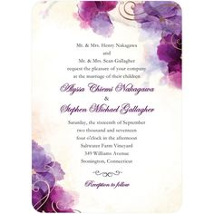 Soft Bougainvillea - Signature Foil Wedding Invitations - Coloring Cricket - Majestic - Purple : Front
