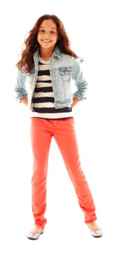 Coral pants, denim jacket, and stripe shirt.
