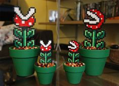 Detachable Super Mario inspired potted piranha plants