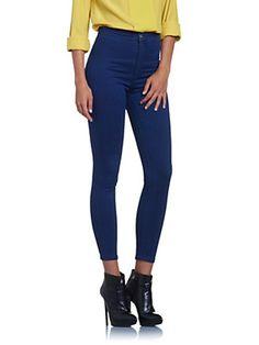 Jean skinny à taille haute en denim stretch, Avec logo Patrizia Pepe brodé, sur la poche, Coupe super Slim
