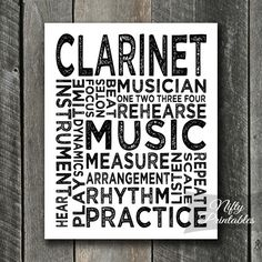 Clarinet Print - Clarinet Art - Clarinet Typography Instant Download Print - Clarinets Poster - Printable Music Wall Art - Clarinet Gifts