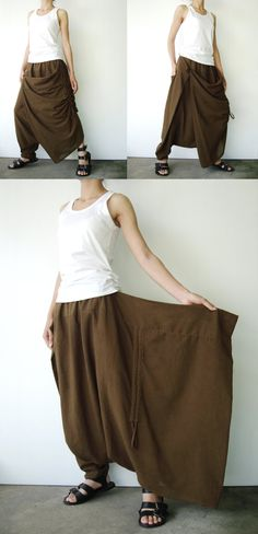 NO.26  Greenish Brown Cotton Asymmetric Harem Pants.
