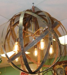 Orb Chandelier Industrial Sphere Metal strap Globe Hanging Light with 5 Thomas Edison 60w Bulbs  Wine Barrel Orb Chandelier Hanging Sphere
