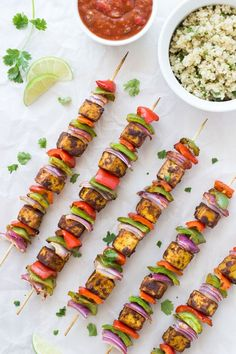 Fajita Tofu Kebabs are a delicious vegan twist on the classic kebab! | via Making Thyme for Health