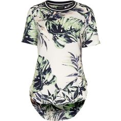 TOPSHOP Palm Leaf Print Side Split Tee (42 BRL) ❤ liked on Polyvore featuring tops, t-shirts, shirts, topshop, tees, white, rayon shirts, palm tree shirt, short sleeve shirts and tee-shirt