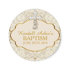 Gold and Silver Cross Baptism Christening Sticker