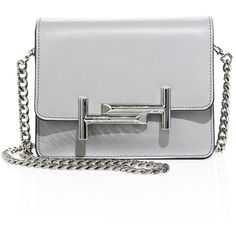 Tod's Mini Double T Leather & Chain Crossbody Bag (£620) ❤ liked on Polyvore featuring bags, handbags, shoulder bags, bolsas, purses, apparel & accessories, light grey, shoulder handbags, leather purses and leather crossbody handbags