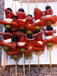 Antipasto skewers, sooo yummy! I made them & everyone loved them!
