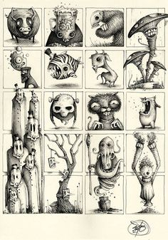 Pk_m collection on behance cartoon monsters, design reference, monster illu Monster Sketch, Monster Drawing, Monster Art, Monster Illustration, Illustration Art, Illustrations, Creepy Art, Weird Art, Illusion Kunst
