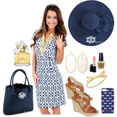 Marleylilly.com Scalloped Tote Purse by marleylilly on Polyvore. Dress is from Mondaydress.com. Featuring MICHAEL Michael Kors, Kate Spade, Kendra Scott, MAC Cosmetics, Marc Jacobs and OPI